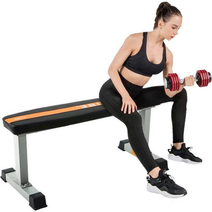 ISE Banc de Musculation Multifonctionnel,Banc d'haltères,Banc d'entraînement de Fitness Plat Abdominaux,Charge maximale 200kg