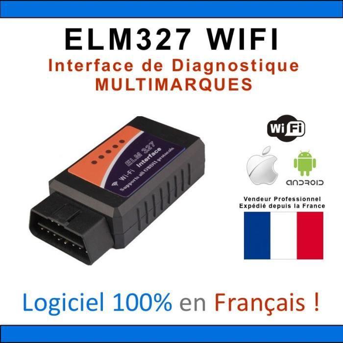 Elm 327 OBD 2 WIFI Interface de diagnostique OBD II pour PC + Logiciel - ELM327 - Diagnostic Auto Mu