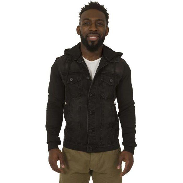 Veste à capuche en jean - Noir Veste pour homme