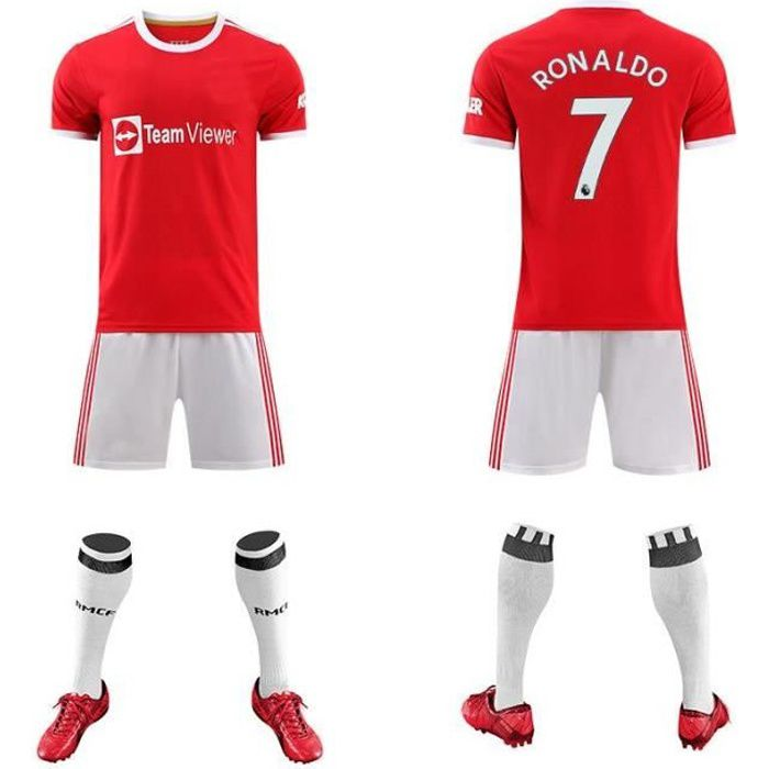 Ronaldo Maillot Man-utd Maillot de Ronaldo football 2021-Adultes Maillot Ensemble - C Ronaldo-Numéro 7
