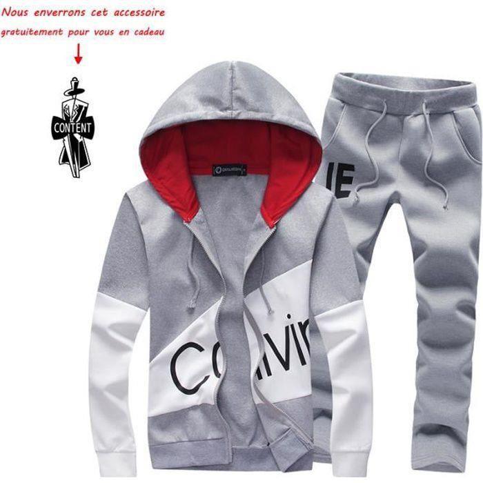 (Veste et pantalon) de survêtement homme Marque Luxe Blouson Pour Homme Manteau à capuche VêTement Masculin - Gris