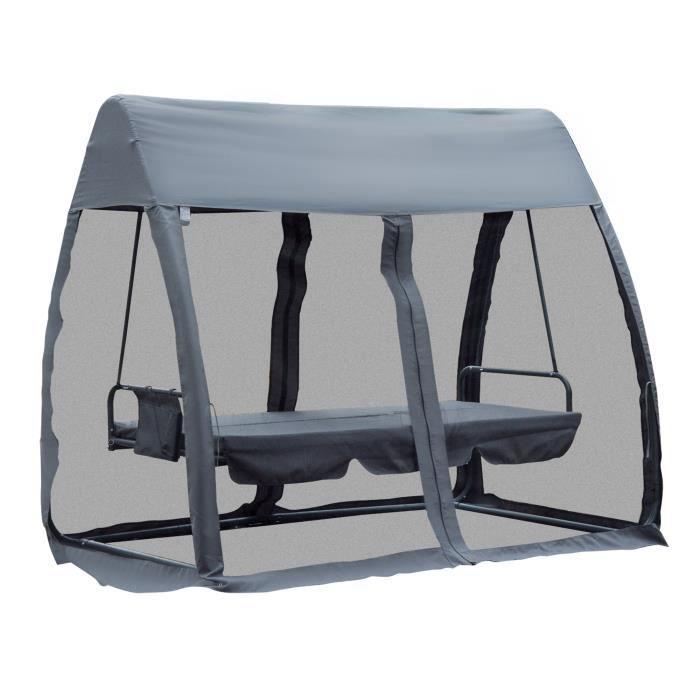Balancelle de jardin convertible 3 places grand confort : matelas assise dossier, moustiquaire intégrale zippée avec toit,