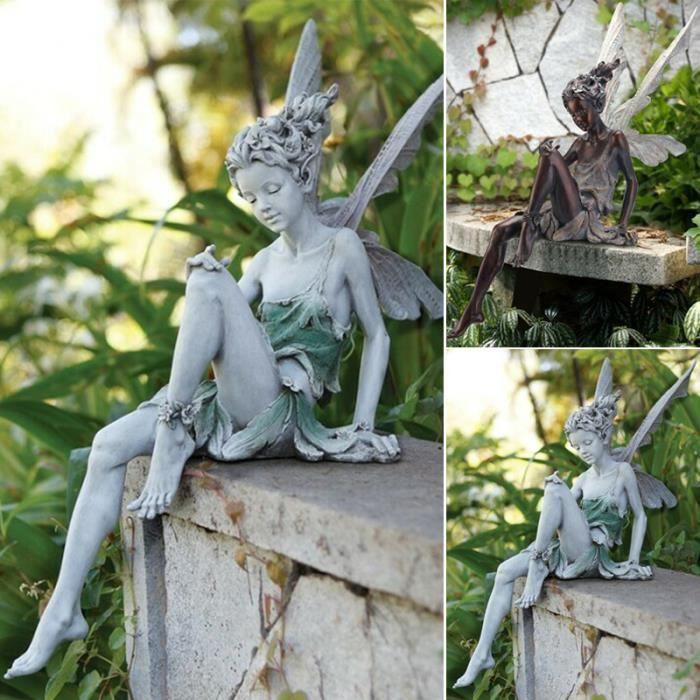 Tudor Et Turek Assis Fée Statue Ornement De Jardin Résine Artisanat Aménagement Paysager Cour Décoration Nouveau