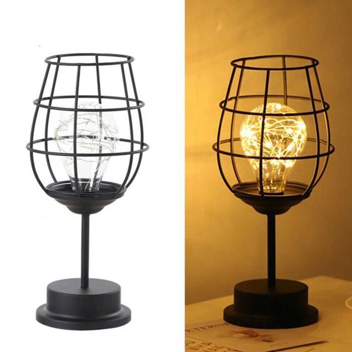 Lampe de table Veilleuse Lampe à poser Rétro en fer forgé Style Nordique Décoration pour Bureau Café Bar chambre - Verre de vin