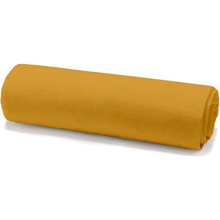 TODAY Drap housse 100% coton - 140 x 190 cm - Jaune safran