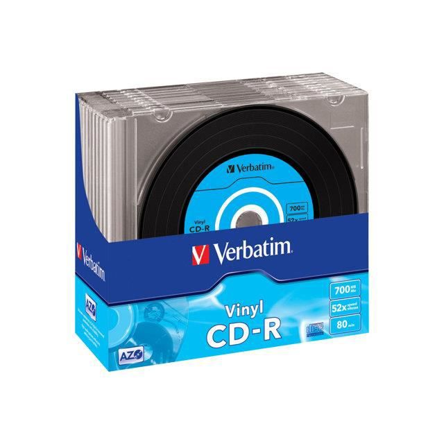 VERBATIM Lot de 10 CD-R Data Vinyl - 700 Mo 52x
