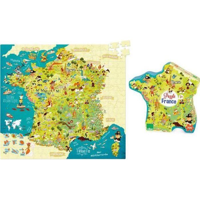 Vilac - 2726 - Puzzle Carte des merveilles de France (300 pcs)