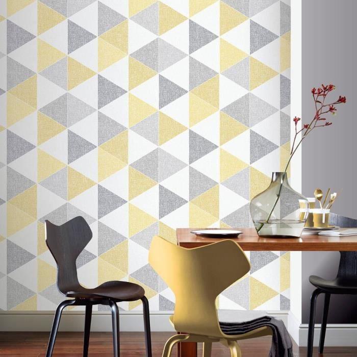 Moderne Geo ocre et gris Papier Peint Rétro Géométrique Arthouse