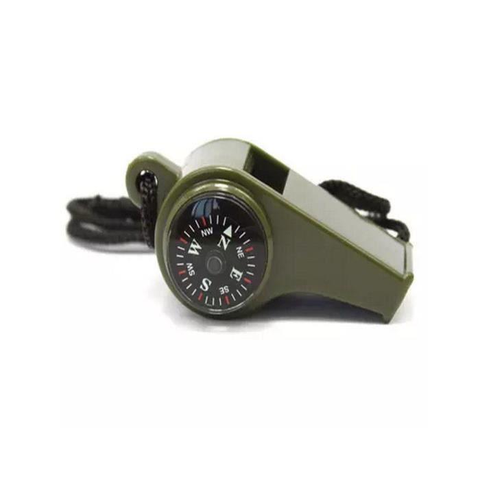 EDC Boussole Sifflet thermomètre loupe 4 en 1 Survie d/'urgence Camping