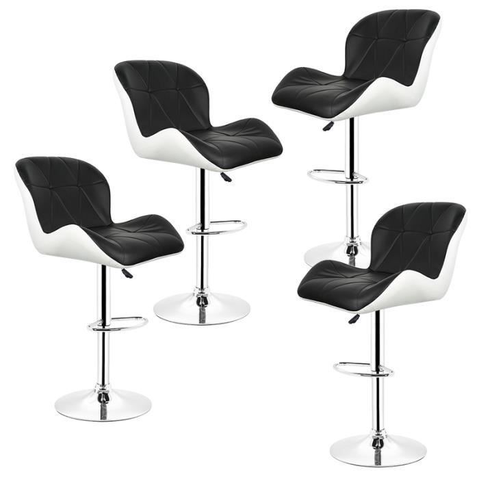LOU Lot De 4 Tabourets Chaise Bar Carre Noir Et Blanc