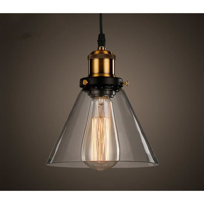 Industrielle vintage verre suspensions luminaire retro for Luminaire suspension industriel