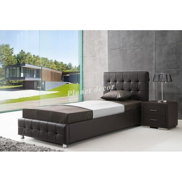 lit 90x200 cm en simili cuir brun avec t te de lit capitonn e achat vente lit complet lit. Black Bedroom Furniture Sets. Home Design Ideas
