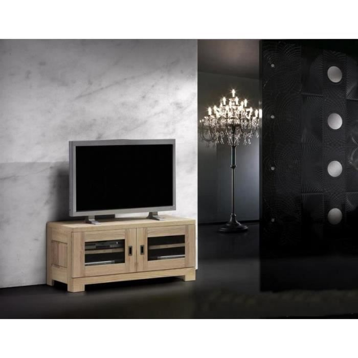 petit meuble t l ch ne massif virginia 140cm meuble. Black Bedroom Furniture Sets. Home Design Ideas