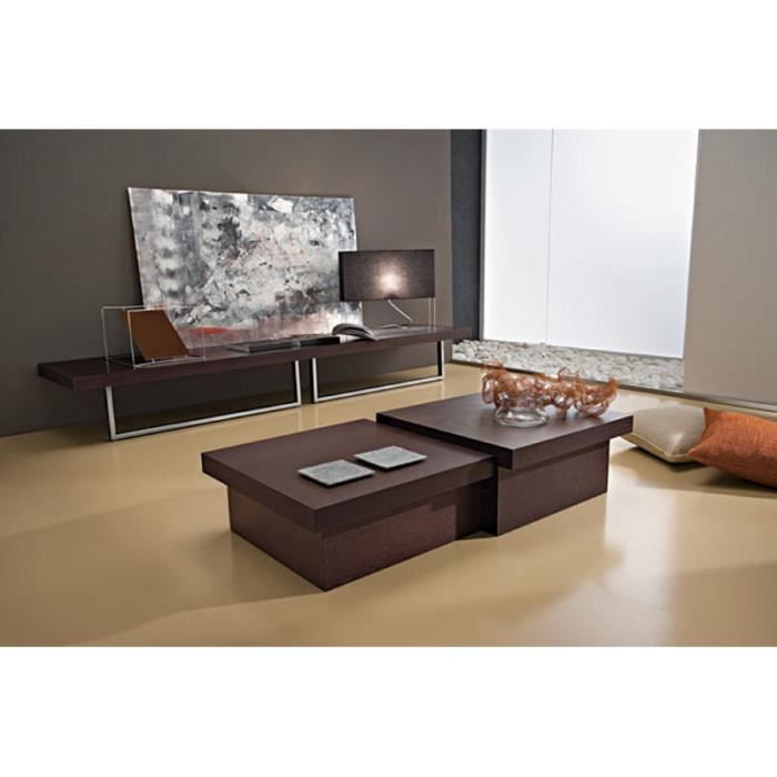 table basse cube moderne marron antoine 60cm meuble. Black Bedroom Furniture Sets. Home Design Ideas