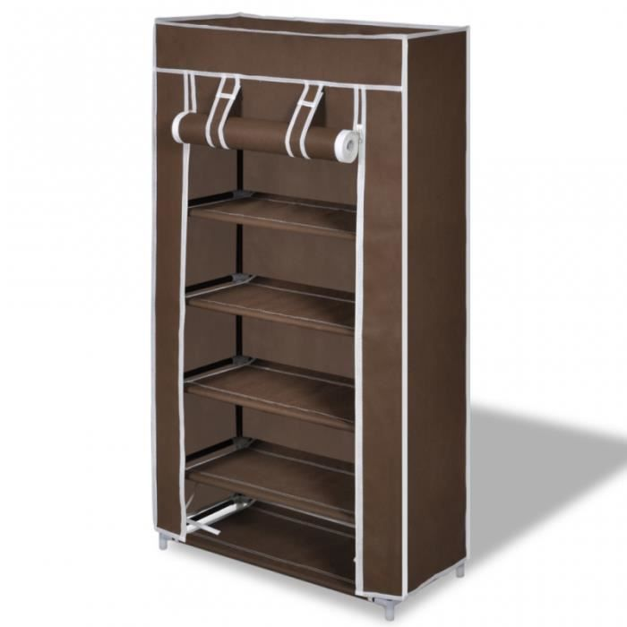 armoires chaussure tag re 10 paires tissu marron 2002037 achat vente armoire de chambre. Black Bedroom Furniture Sets. Home Design Ideas