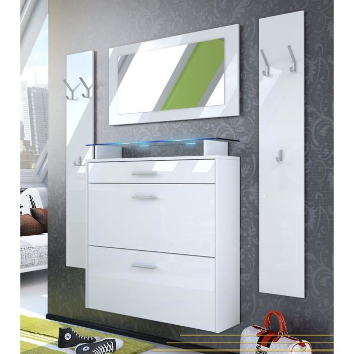 vestiaire blanc laqu 89cm achat vente meuble d 39 entr e. Black Bedroom Furniture Sets. Home Design Ideas