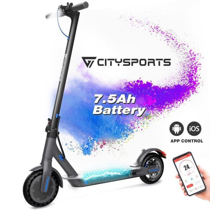 """CITYSPORTS Trottinette Electrique Scooter Pliant Batterie 7.5Ah APP Ultra-léger 8,5""""Noir"""