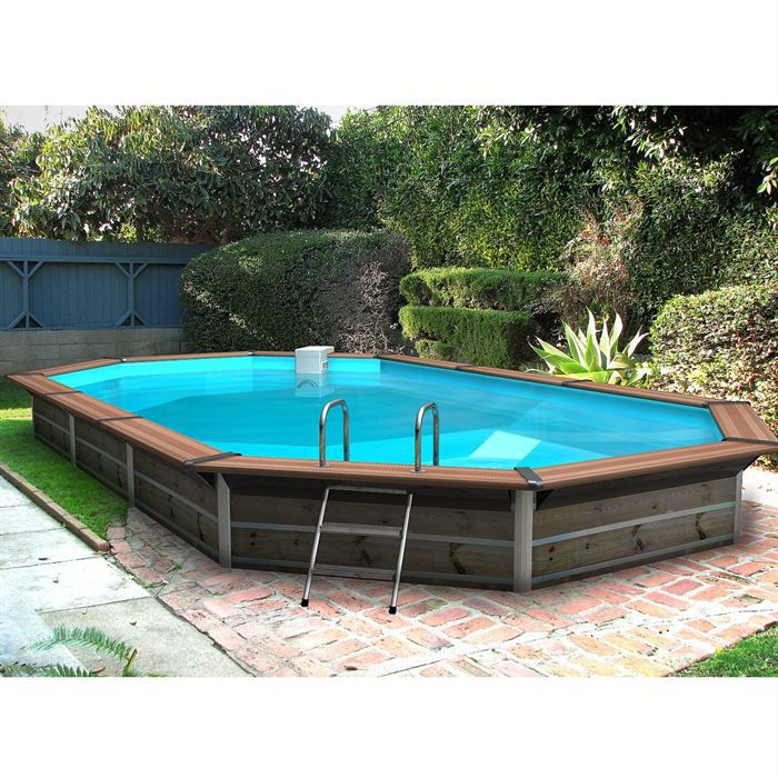 Piscine bois alu waterclip 680x370x129 optimum achat for Piscine semi enterre bois