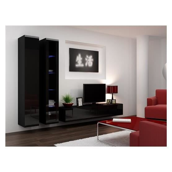 ensemble meuble tv design viko noir achat vente meuble tv meuble tv viko nr cdiscount. Black Bedroom Furniture Sets. Home Design Ideas