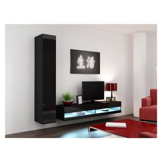 ensemble meuble tv design valeria noir achat vente meuble tv meuble tv valeria nr cdiscount. Black Bedroom Furniture Sets. Home Design Ideas