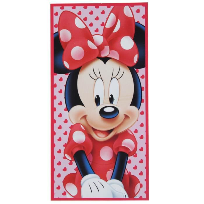 serviette de plage enfant disney minnie coeur 70 cm x 140. Black Bedroom Furniture Sets. Home Design Ideas