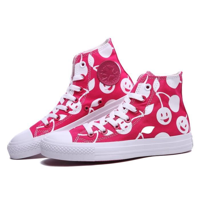 Femme Converse all star chunk taylor rose cerise hi basket toile ... a6c97df8fb2d