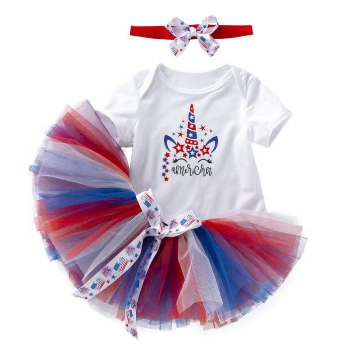 Baby Girl Fête des Mères Combinaison Robe de Soirée Tutu Jupe Bandeau 2pcs 0-24 mois