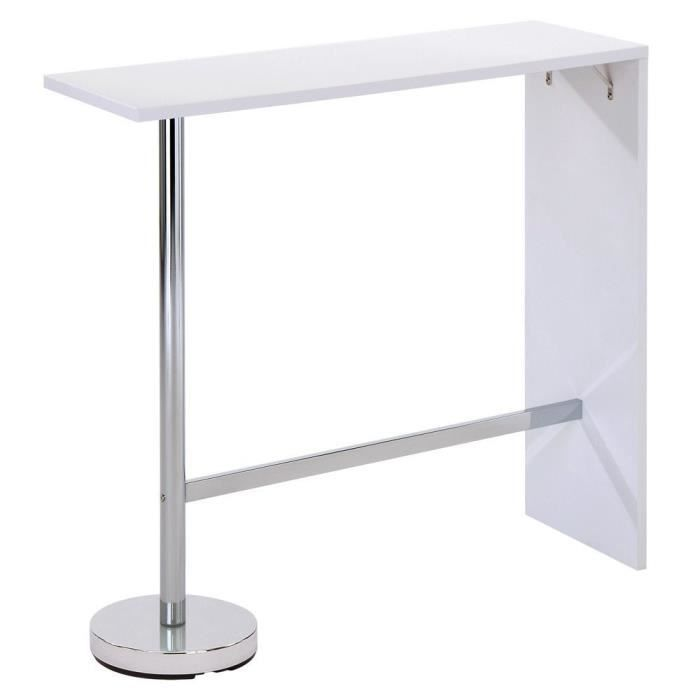 Table de bar london blanche l120 x h110 x p40 cm achat for Table bar blanche