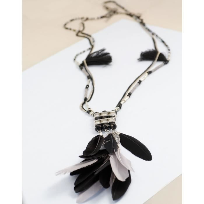 Womens Long Black And Grey Feather Necklace ForK73HR