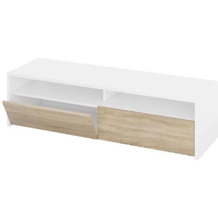 KIOTO Meuble TV contemporain blanc et décor chêne - L 130 cm