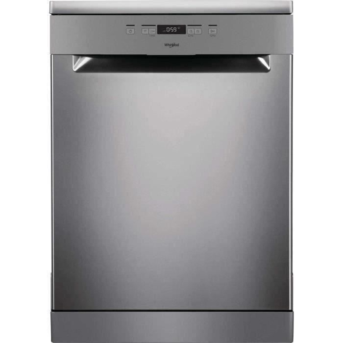 Lave-vaisselle pose libre WHIRLPOOL OWFC3C26X - 14 couverts - Moteur induction - Largeur 60 cm - Classe A++ - 46 dB - Inox/silver