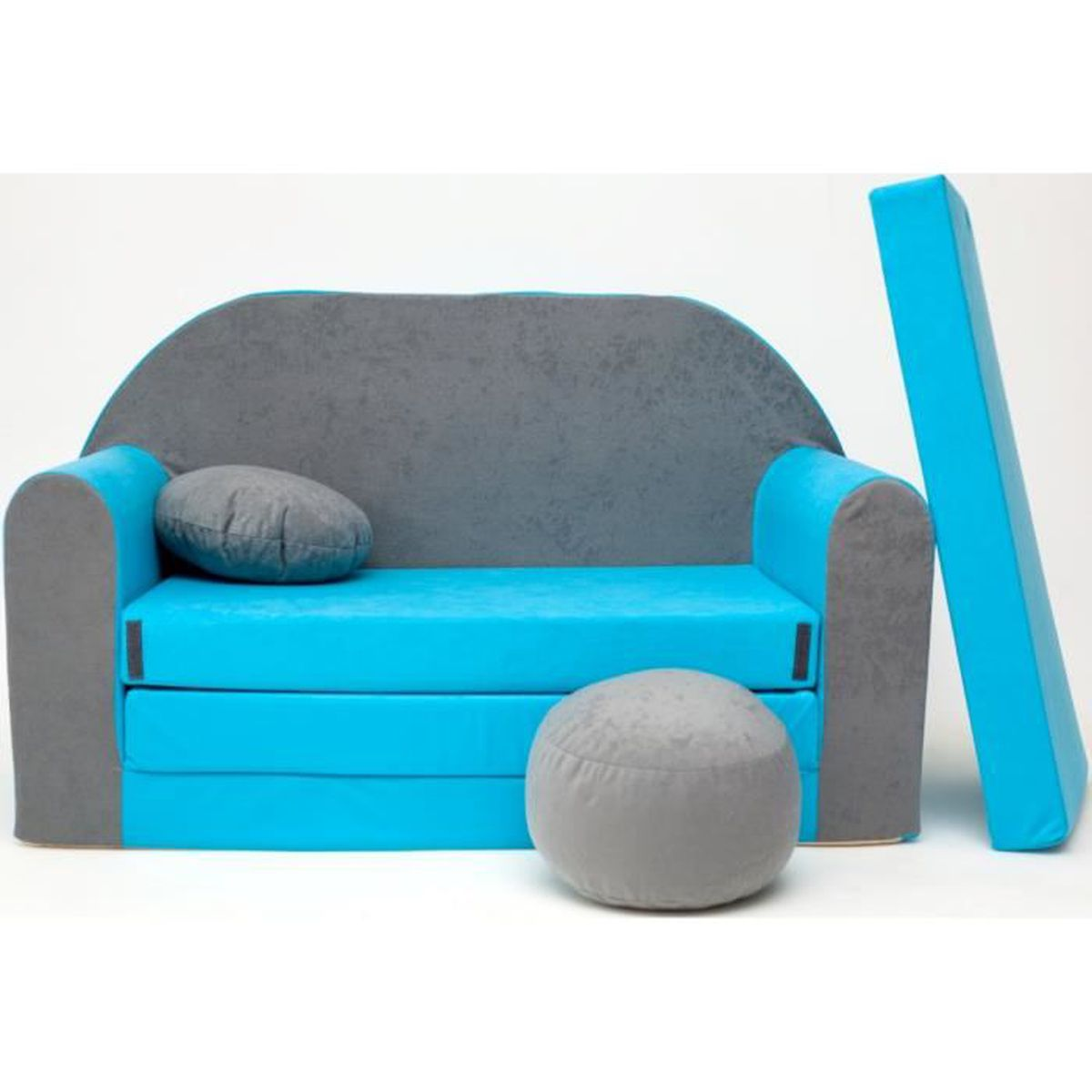 Canape sofa enfant 2 places convertible gris bleu achat for Petit canape lit 2 places