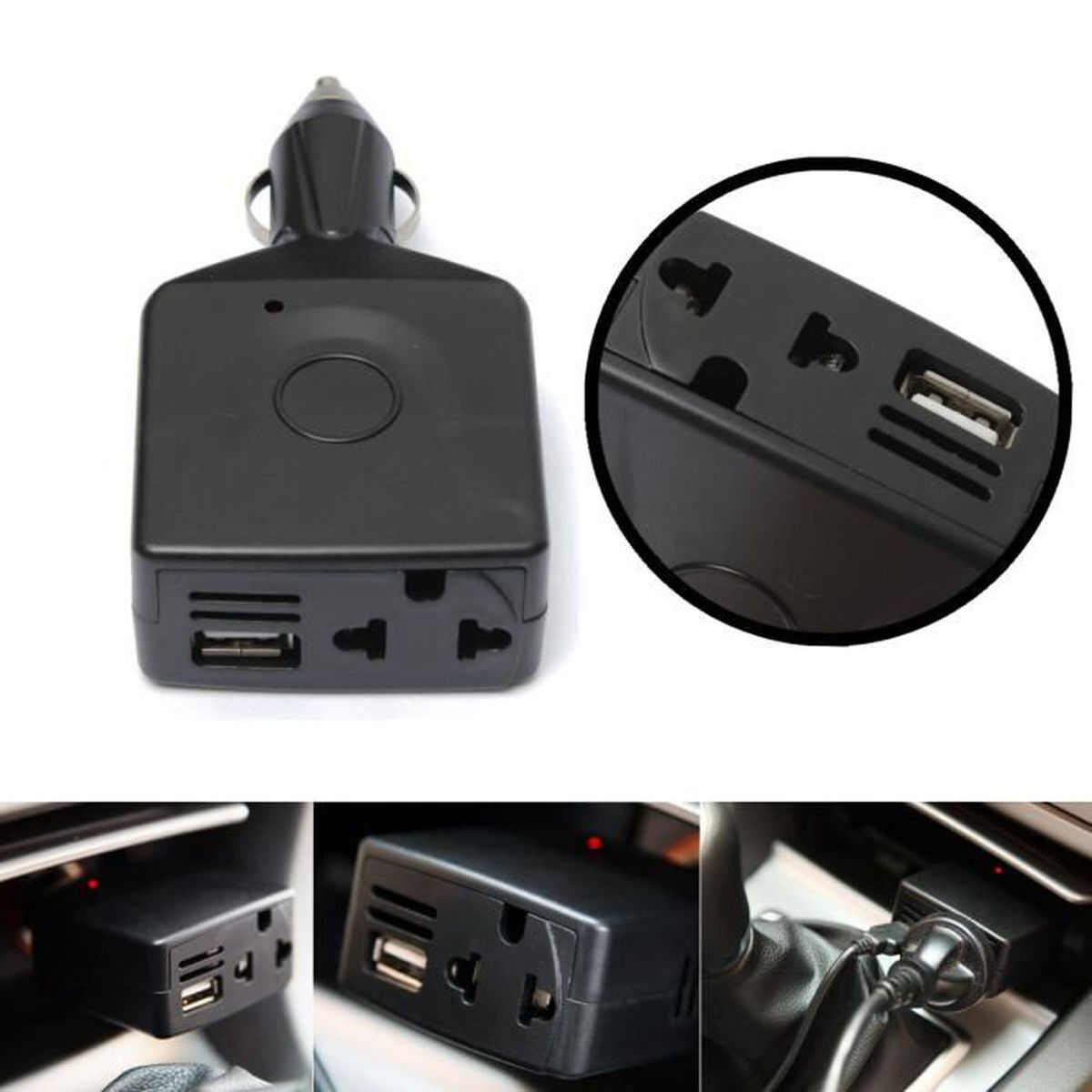 adaptateur prise usb allume cigare chargeur convertisseur 12v dc vers ac voiture achat vente. Black Bedroom Furniture Sets. Home Design Ideas