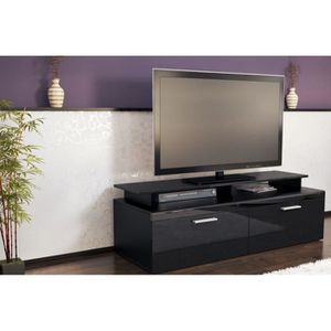 meuble tv noir metal achat vente meuble tv noir metal pas cher cdiscount. Black Bedroom Furniture Sets. Home Design Ideas