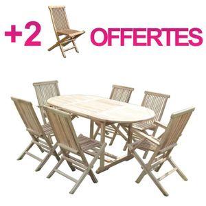 SALON DE JARDIN  Salon de jardin en teck SOLO 4+2 chaises et 2 faut