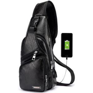 SACOCHE Sac de Poitrine Homme avec Port de charge USB Sac
