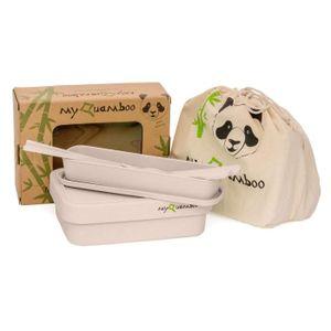 LUNCH BOX - BENTO  myQuamboo Boîte à Repas en Fibres de Bambou avec S