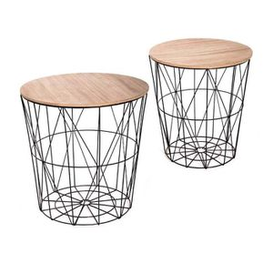 TABLE BASSE Tables gigognes lot de 2 Atica noir Noir