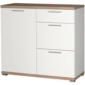 COMMODE DE CHAMBRE Commode de 3 tiroirs et 1 porte en bois coloris bl