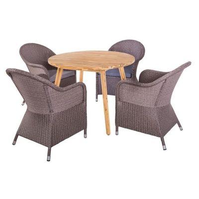 Ensemble Table ronde & Fauteuils Bois/Rotin - HURAA - L 110 x l 110 x H 75