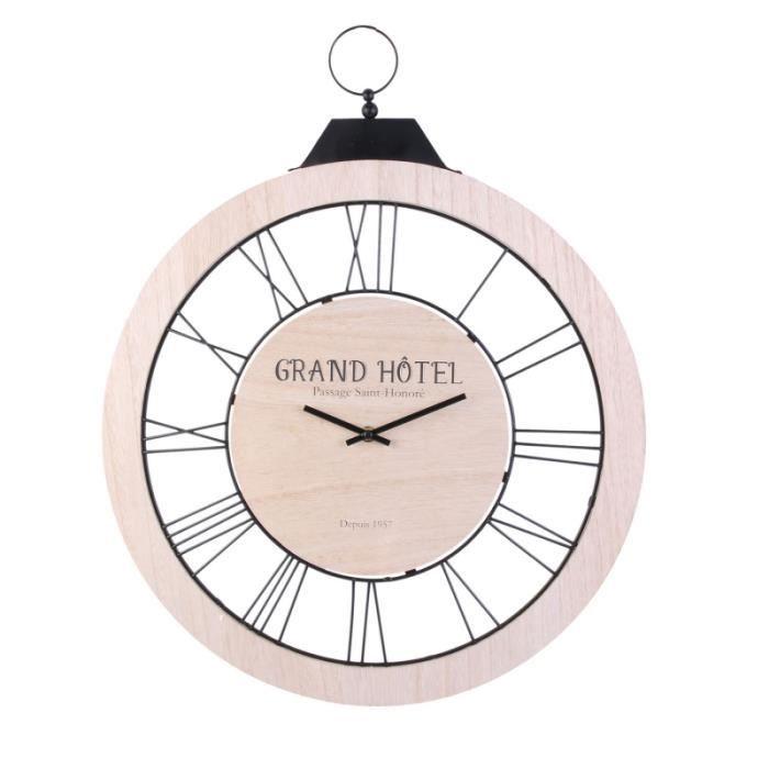 Horloge à suspendre bois clair et métal noir - D 47 cm 58,5 cm Beige