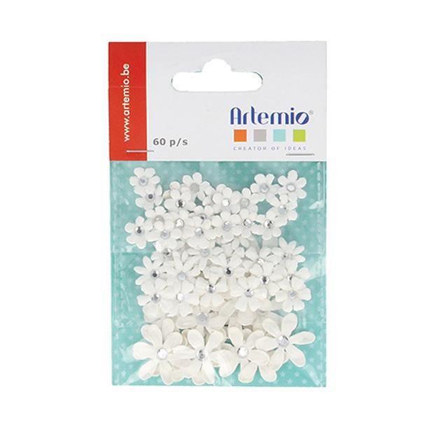 60 Fleurs en Papier Perle Strass - Fleur Blanche