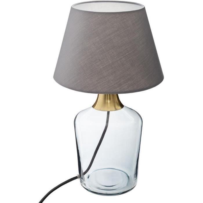 Lampe à poser en verre - E27 - 40 W - H. 39 cm - Bleu