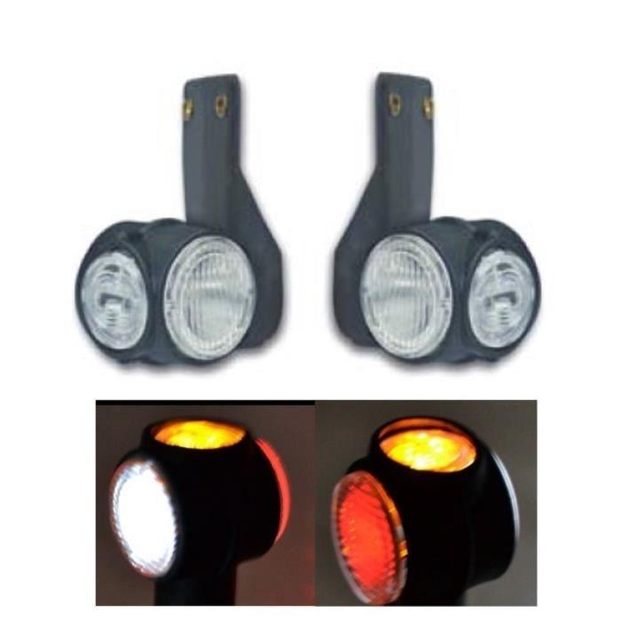 Lot De 2 Feux De Gabarit 12V 24V LED 3 Couleurs Rouge Orange Blanc Pour Auto Camion Caravane Fourgon Remorque