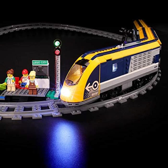 Jeu D'Assemblage XPYNK Led Lighting Kit for City Passenger Train - Compatible with Lego 60197 Building Blocks Model- Not Include The