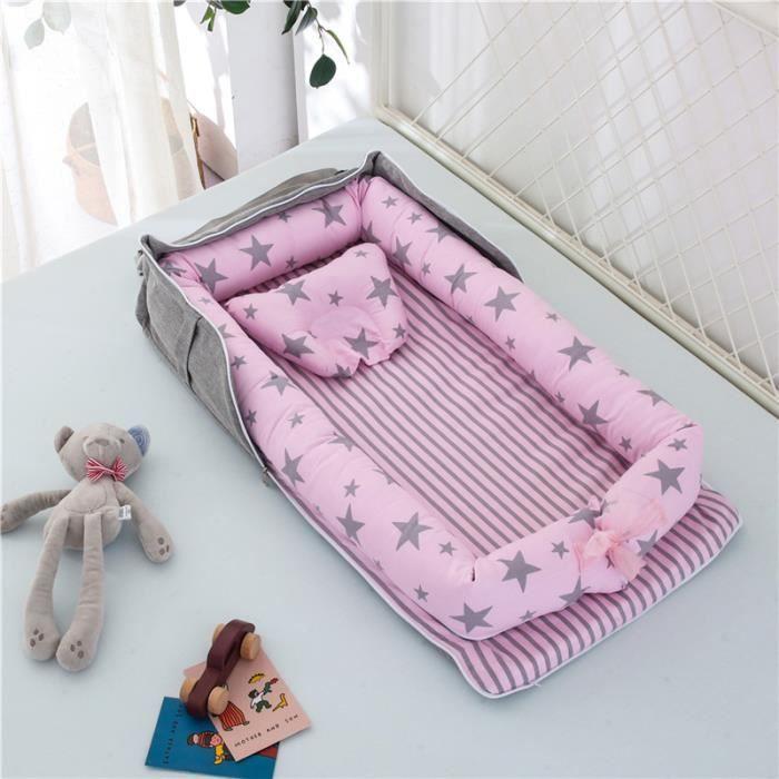 Lit Bébé Portable en Coton Reducteur de lit Pliable Nid pour nouveau-né nourrisson de voyage Lavable Berceau 0-2 Ans, étoiles Rose