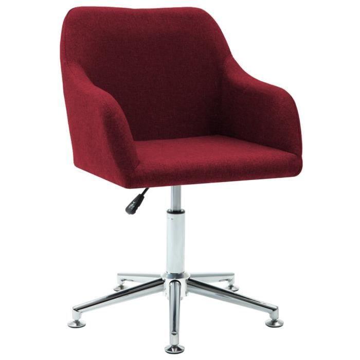 Chaise de Bureau couleur Rouge bordeaux en Tissu Fauteuil professionnel directeur entrepreneur siège salle a manger diner femme homm