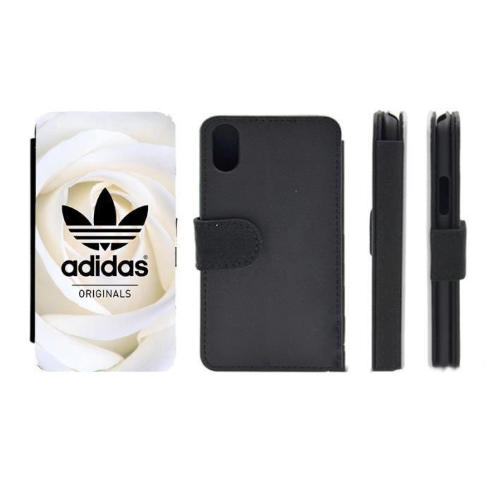 Etui Portefeuille iPhone 7 PLUS & 8 PLUS Adidas Roses Blanche Simili Cuir Wallet a clapet Porte Cartes et Billet Neuf sous Blister