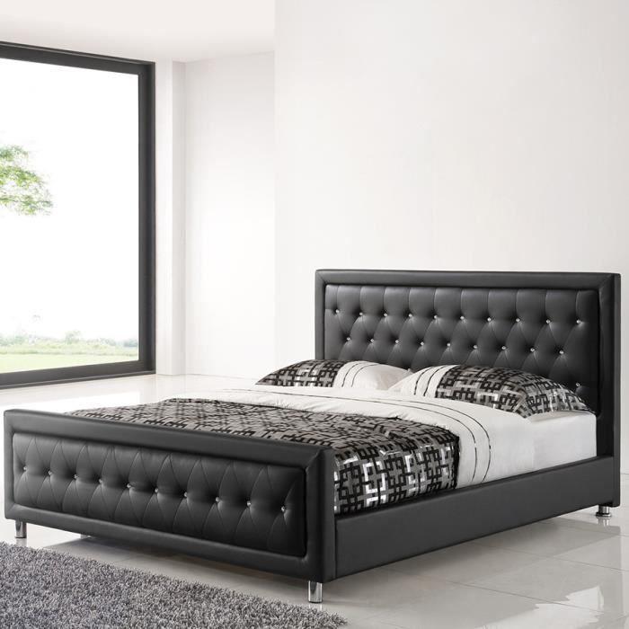 Lit adulte design 160x200 noir capitonné avec des strass SAMANTHA Noir L 166,5 x P 218 x x H 107 cm