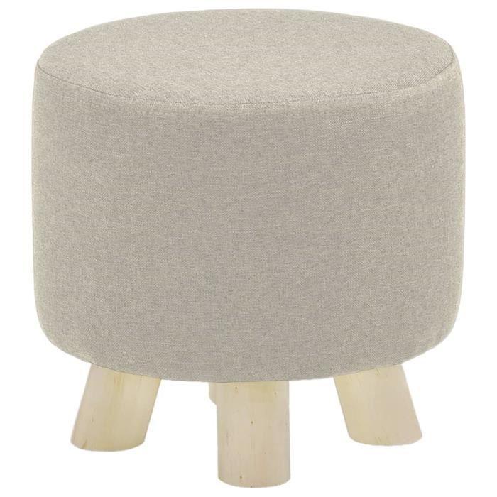 Tabouret Rond Pouf - Crème Tissu & Pied en Bois de pin - Style Scandinave - Repos Pied - 28 x 27 cm